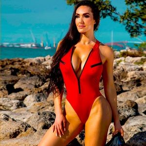 Red front zipper one piece swimsuit